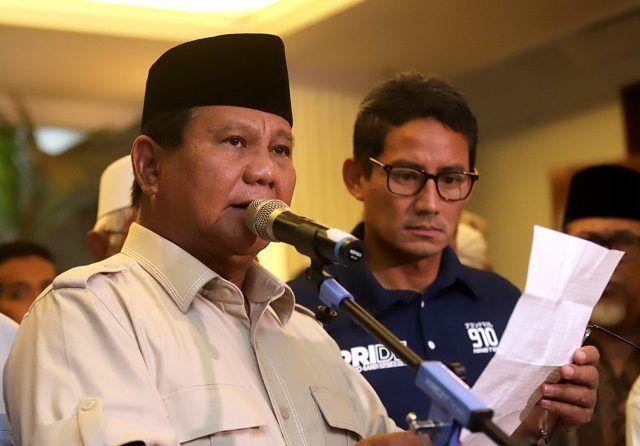 Prabowo – Sandiaga Rayakan Kemenangan Sebelum Pengumuman KPU
