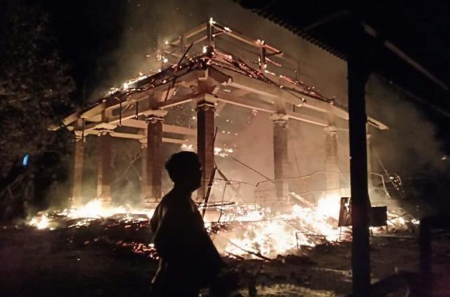 Wantilan Pura Dalem Ped Terbakar, Kerugian Ditaksir Rp 700 Juta