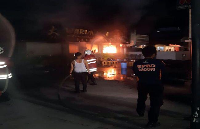 pemilu 2019, tabung gas bocor, warung laota, restoran terbakar, bpbd badung