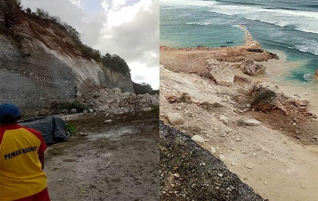 gempa bumi, gempa bali, tebing longsor, tebing pantai, pantai melasti, longsor ke laut, bpbd badung