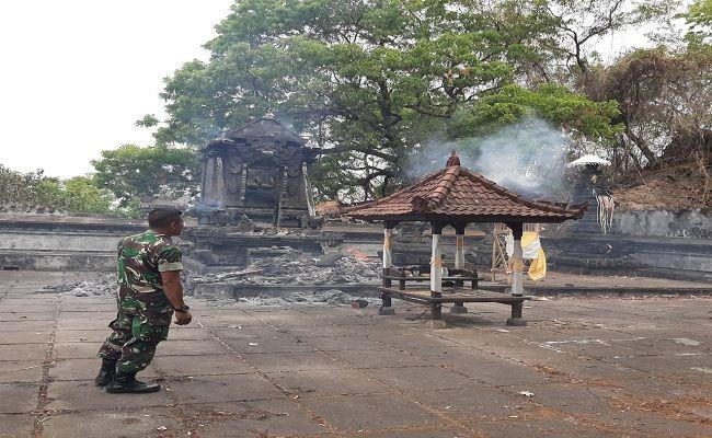 Kondisi kebakaran di Pura Dalem Labasari, Peselatan, Abang