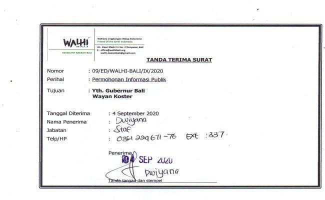 Walhi Bali, Ranperda, Salinan ranperda, RZWP3K, gubernur Bali, wayan Koster,