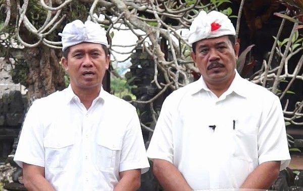 Bupati Klungkung I Nyoman Suwirta (kiri) dan Wabup Klungkung Made Kasta