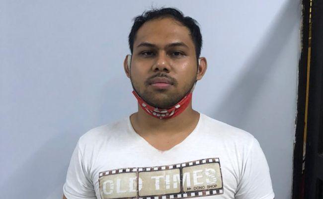 I Putu Arya Wijaya saat ini diamankan di Polsek Kuta