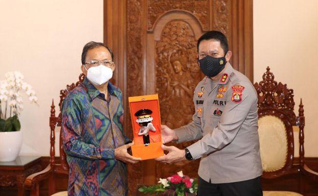 Gubernur Bali, Wayan Koster, penghargaaan pin emas, Kapolri, PPKM terbaik,