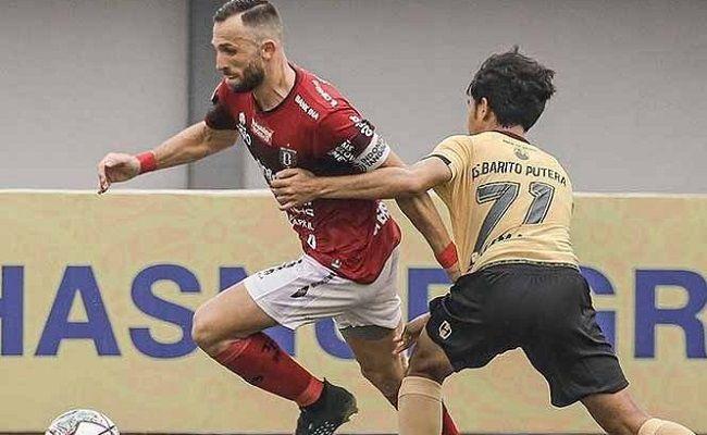 Liga 1 2021, Bali United, Barito Putera, Stefano Teco Cuggura, Ilija Spasojevic, Teco Puji  Djanur, Djajang Nurjaman, Barito kalah,