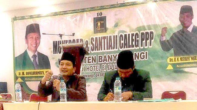 TAUSIYAH: Ketua PCNU Banyuwangi KH Ali Makki Zaini hadir dalam Mukercab dan Santiaji PPP Banyuwangi.