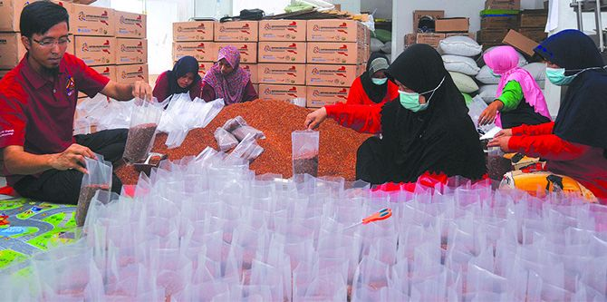 DAPAT ORDER DARI AMERIKA: Shohib Qomad Dillah (kiri) ikut mengemas beras organik produksi P4S Sirtanio.