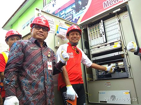 Executive Vice President Telkom Regional V Jatim Balnus Suparwiyanto didampingi Asisten 3 Administrasi Umum Pemkab, Mujiyono M, Si. siap akan memgambil modul Multi Dwelling Unit  sebagai tanda modernisasi broadband.