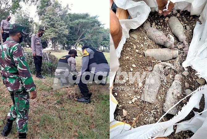MASIH AKTIF: Polisi mengevakuasi bondet yang ditemukan di sekitar tepi sungai dekat Monumen Koptu Ruswandi di Desa/Kecamatan Tegaldlimo, Sabtu (12/6). (kanan) Lima bondet yang ditemukan di sekitar tepi sungai dekat Monumen Koptu Ruswandi.