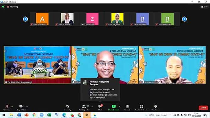 DARING : Pelaksanaan Webinar Internasional Stikes Banyuwangi bersama MSU Malaysia dan PATELKI secara online melalui platform zoom dan live streaming Youtube SBTV Stikes Banyuwangi, Sabtu (26/6).