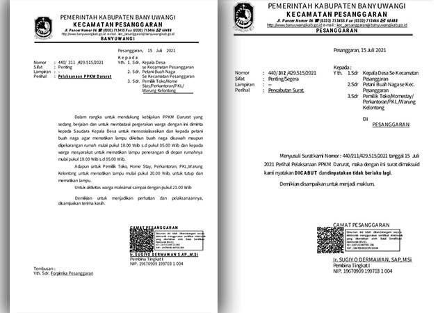 GANDA: Dua surat dari Pemerintah Kecamatan Pesanggaran yang minta petani mematikan lampu di kebun buah naga, dan surat pencabutan dikirim hampir bersamaan.