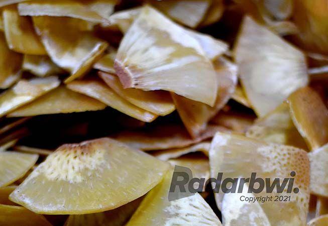 KUNING KEEMASAN: Keripik sukun dengan aroma khas mengundang selera yang siap santap.