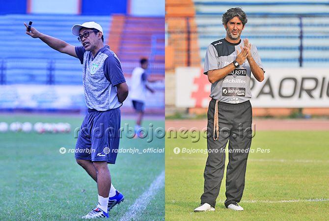SIAP BERADU STRATEGI: Aji Santoso dan Stefano Cugurra Teco nanti malam bertemu di Stadion Surajaya Lamongan