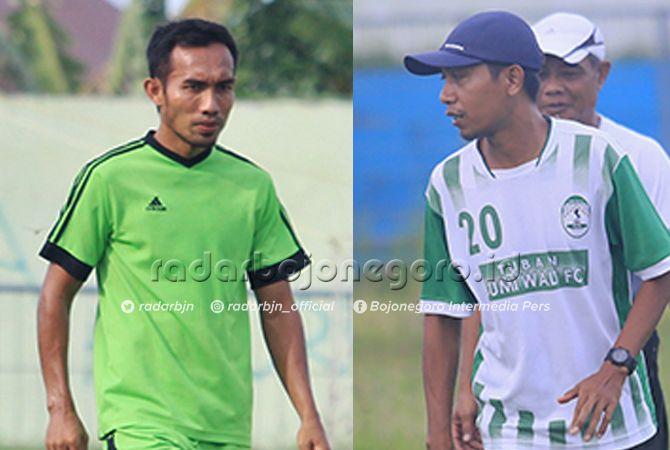 PELATIH LOKAL: Ainur Rofiq (kanan), pelatih berlisensi C AFC dan Sulkan Arif alias Mbothe santer disebut bakal mendampingi Edy Sutrisno membesut tim Porprov Tuban.