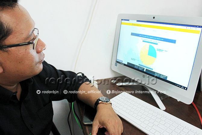 HITUNG PASTI: Komisionel KPUK Tuban Salamun menunjukkan hasil sementara real count di layar komputer kantornya.