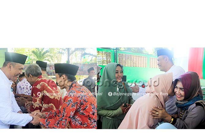 INDAHNYA SALING MEMAAFKAN: Kepala SMKN 1 Tuban Hidayat Rahman, S.Pd. MM. bersama istri, Agustinayanti, S.Pd. MM., saat bersalam-salaman dengan keluarga besar SMKN 1 Tuban.