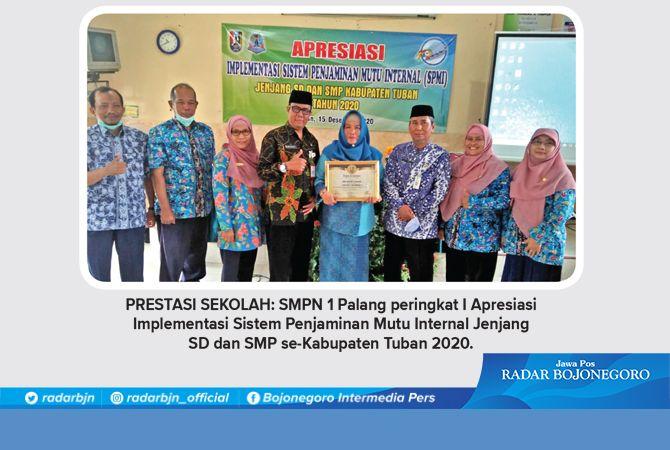PRESTASI SEKOLAH: SMPN 1 Palang peringkat I Apresiasi Implementasi Sistem Penjaminan Mutu Internal Jenjang SD dan SMP se-Kabupaten Tuban 2020