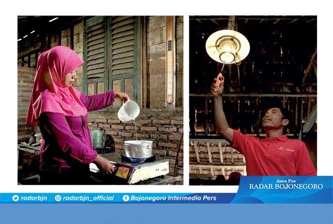Energi Alternatif: Ibu Endang memasak memakai kompor bersumber biogas. Memanfaatkan limbah ternak sapi di Desa Gayam, Bojonegoro. Manfaatnya juga untuk listrik rumah tangga.
