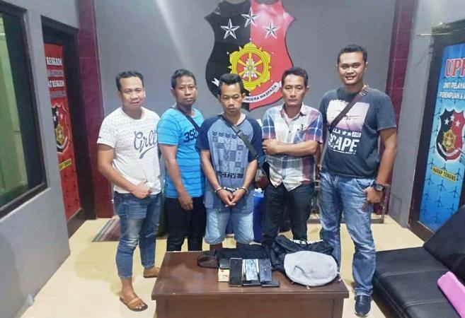 Suprapto, 38, warga Dusun/Desa Joketro, Kecamatan Parang, Kabupaten Magetan, saat berada di Mapolres Jombang