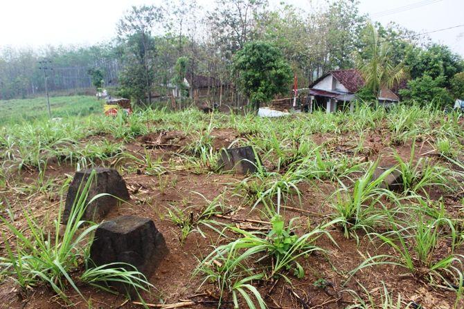 Batu umpak yang diduga situs bersejarah di Dusun Jeruk, Desa Karangan, Kecamatan Bareng