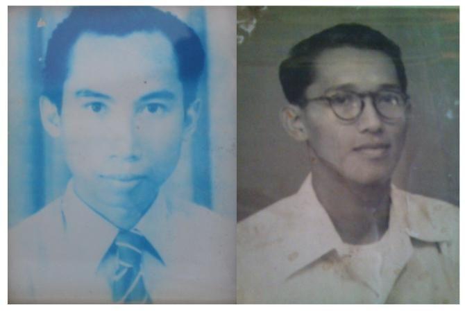 Foto semasa muda Subardi Putrokusumo (kiri) dan H Rooslan Effendhie (kanan).
