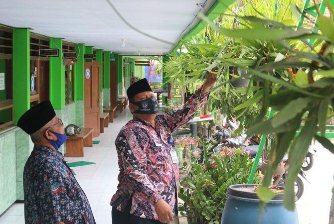 Purnomo Kepala MTsN 5 Jombang menunjukkan bunga wijaya kusuma.