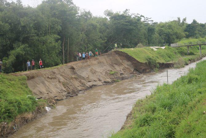 RAWAN JEBOL: Kondisi salah satu titik tanggul sungai Konto Longsor di Desa Kayen, Bandarkedungmulyo. Sejumlah warga kerja bakti memperkuat tanggul dengan tumpukan karung tanah kemarin (22/2).