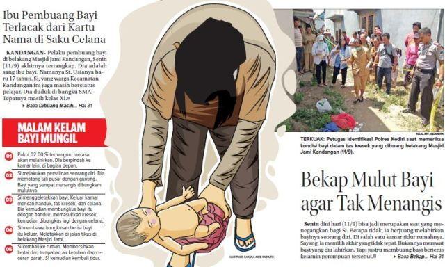 TERKUAK: Petugas identifikasi Polres Kediri saat memeriksa kondisi bayi dalam tas kresek yang dibuang belakang Masjid Jami Kandangan(11/9).