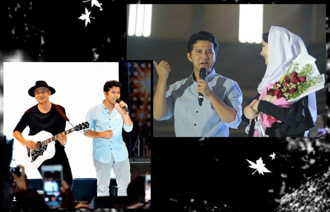 GENERASI MILENIAL: Duet Anji dan Emil Dardak (kanan) serta Arumi saat menerima bunga dari sang suami dalam Relaxa Road Show Milenial di GOR Jayabaya, Minggu (22/4).