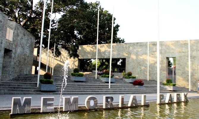 REFLEKSI: Kolam menjadi salah satu bagian dari Memorial Park.