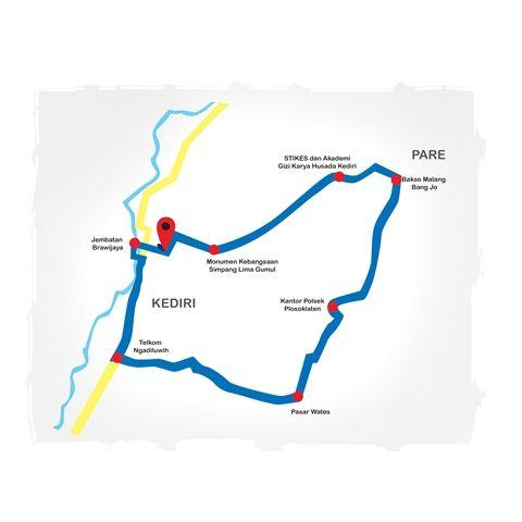 ILUSTRASI : Jalur Konvoi Persik Kediri melewati Kota dan Kabupaten Kediri.