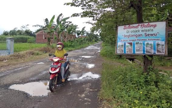 RUSAK: Kondisi jalan Desa Tunggul Pandean, Kecamatan Nalumsari, mengalami kerusakan sepanjang setengah kilometer.