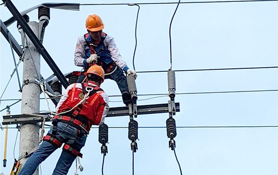 PEMELIHARAAN: Petugas PLN melakukan pemeliharaan jaringan untuk memastikan pasokan listrik lancar.