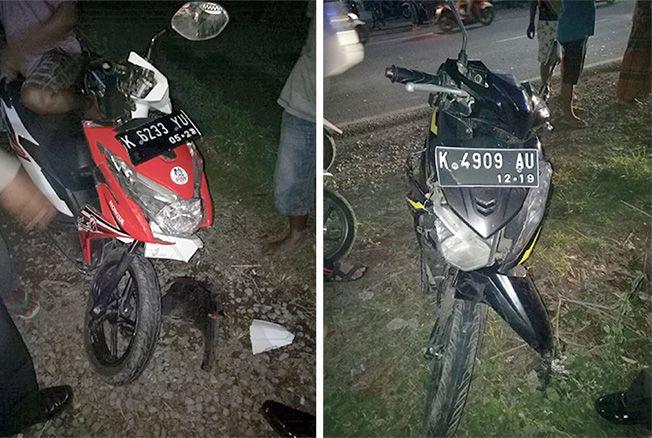 MAKAN LIMA KORBAN: Kedua sepeda motor yang terlibat kecelakaan terlihat hancur di bagian depan.