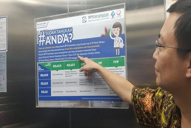 SOSIALISASI PERMENKES: Direktur Utama RS Mardirahayu dr. Pujianto, M. Kes,sosialisasi pasien BPJS Kesehatan bisa naik kelas satu tingkat.