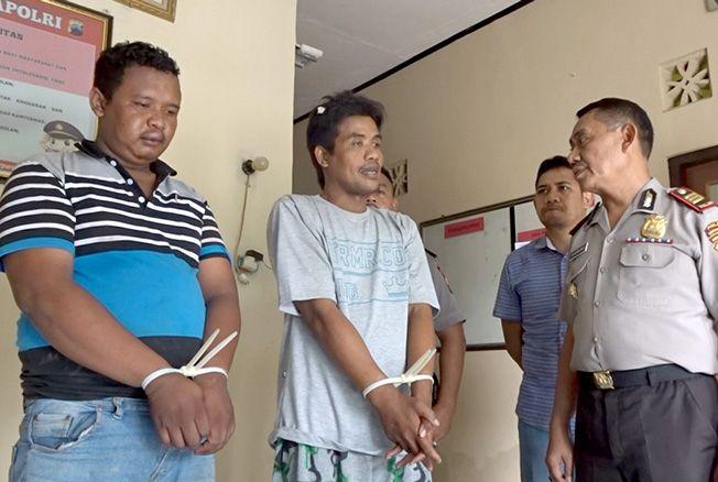 TAK BERKUTIK: Dua pelaku pencurian berhasil diamankan di Mapolsek Tanggungharjo, Grobogan setelah sempat kabur dan terjadi kejar-kejaran dengan warga dan polisi.