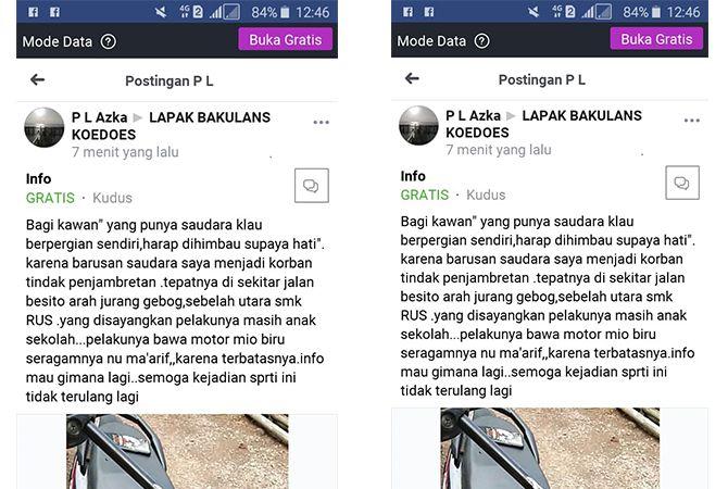 HOAX: Screenshoot dari akun Faceebook yang menyebarkan hoax tentang penjambretan di Jalan Besito.