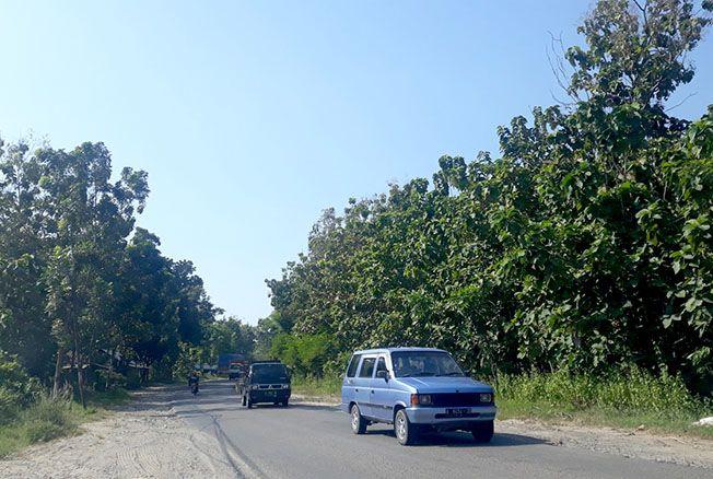 DIGESER: Kendaraan melintas di wilayah Kecamatan Pancur-Pamotan yang rencananya tak jadi dipasangi LPJU bantuan dari provinsi.