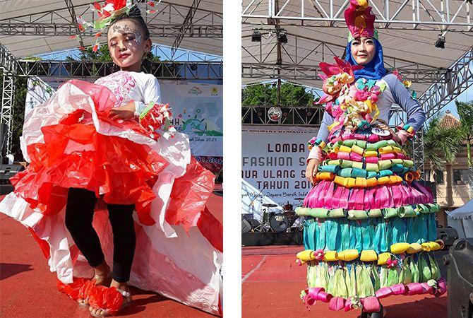 ANGGUN: Salah satu peserta tampil percaya diri dalam lomba Fashion Show Daur Ulang Sampah di Alun-alun Jepara Sabtu (19/10). Acara ini dalam rangka HUT ke-74 TNI.