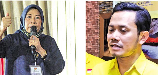 Sri Sudarmini, Ketua DPD Nasdem Blora (kiri) dan Siswanto, Ketua DPD Goklar Blora (kanan)