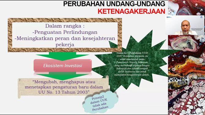 RESPON SG: Pemaparan materi oleh Kasi Penyelesaian Perselisihan secara Birpartit Kementerian Ketenagakerjaan RI Feryando Agung Santoso SH., MH dalam kegiatan Learn & Share Undang-Undang No. 11 Tahun 2020 tentang Cipta Kerja dan Peraturan Pelaksanaannya.