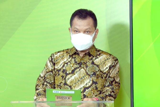 """JADI KEYNOTE SPEAKER: Menteri Koordinator Bidang Perekonomian Airlangga Hartarto dalam acara Webinar Berita Satu yang bertemakan """"Tahun Kebangkitan Emiten"""" di Jakarta (27/7) lalu."""