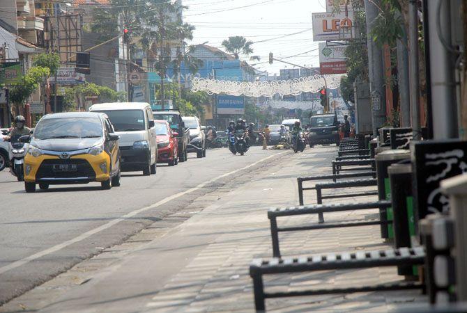 PEDAGANG: Launching PKL City Walk pagi menunggu Kudus level 1. Penundaan ini dilakukan sejak empat bulan lalu.