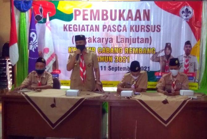TERUS BERGERAK: Kwartir Cabang (Kwarcab) Gerakan Pramuka Rembang mengadakan upacara Pembukaan Kegiatan Narakarya di aula sanggar Bakti Pramuka Kwarcab Gerakan Pramuka Rembang, Sabtu lalu (11/9).