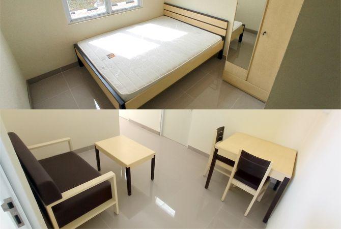 BARU: Fasilitas tempat tidur, sofa, meja makan dan lemari disediakan bagi para penghuni Rusunawa Pulodarat.