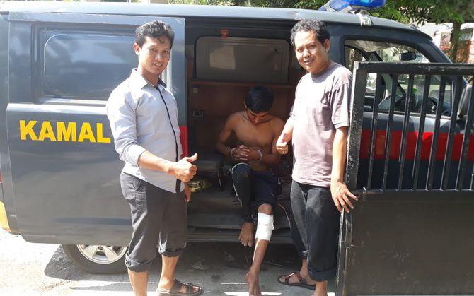 MERINTIH: Pelaku pencurian laptop di kos-kosan sekitar UTM pincang usai ditembak polisi.