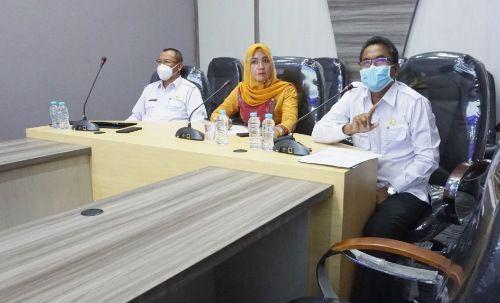 TEPIS HOAKS: Kepala Diskominfo Bangkalan Agus Zein (kanan) dan Kepala Dinkes Sudiyo (kiri) menjadi pemateri pada webinar yang dipandu Allyvia Camelia, Rabu (18/11).