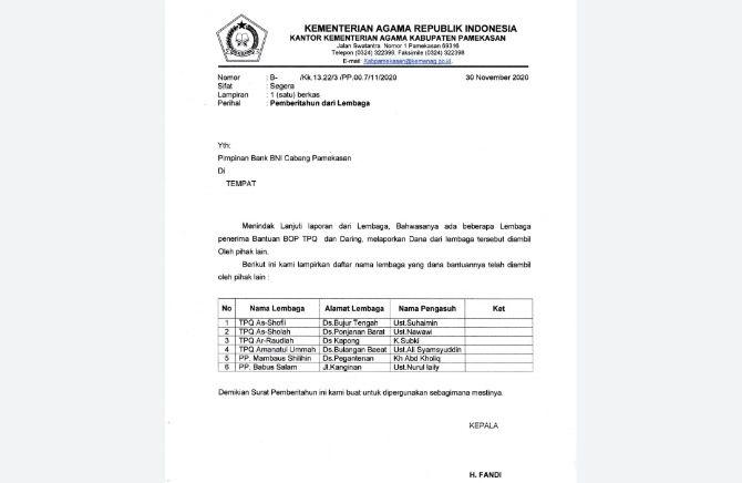 RESMI: Surat pemberitahuan dari Kemenag Pamekasan ditujukan kepada pimpinan BNI terkait enam lembaga penerima BOP yang bantuannya diambil pihak lain.