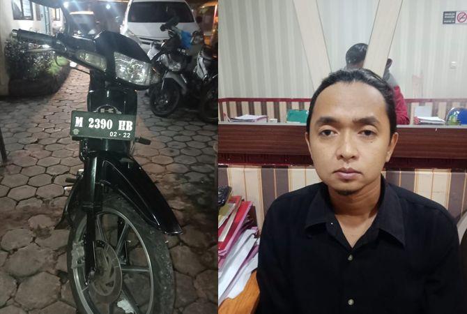 BARANG BUKTI: Tersangka penjambretan Achmad Budi Utomo diamankan dan Sepeda motor Kawasaki Kaze R hitam M 2390 HB diamankan petugas di Mapolres Bangkalan.